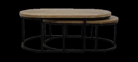 Salontafel City - 120x60 cm - mangohout / ijzer - set van 2