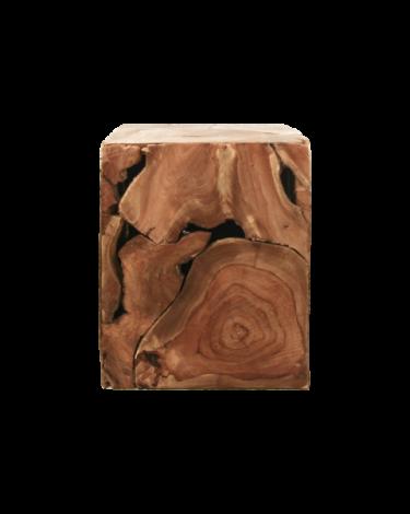 Table d'appoint cube - 25x25 cm - teck - cire naturelle