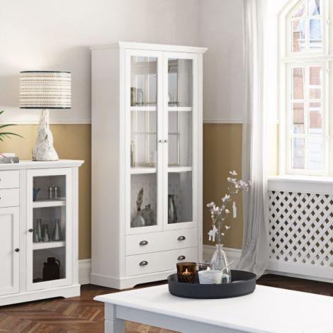 Vitrine Verner 90cm avec 2 portes & 2 tiroirs - blanc