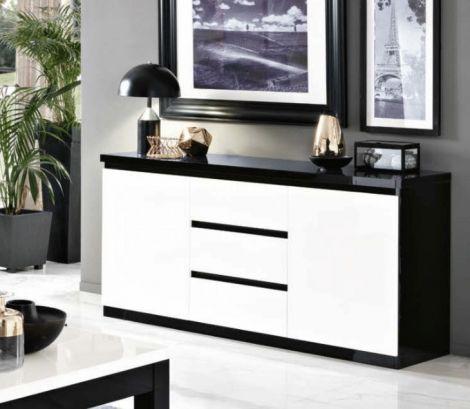 Dressoir Roma 2 deuren & 3 lades - zwart/wit