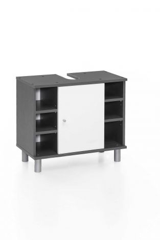 Meuble sous lavabo Benja 1 porte & 6 niches - blanc/gris graphite