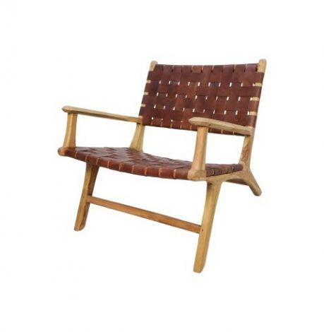 Loungestoel met armleuning Barda - leder / teak - cognac
