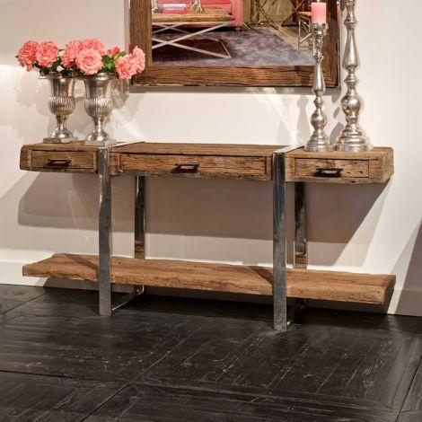 Open dressoir Kensington 180cm met 3 lades & 1 legplank - bruin/zilver