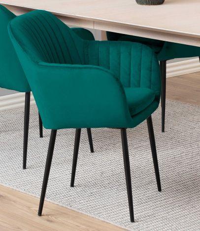 Chaise avec accoudoirs Hermeline - vert bouteille/noir