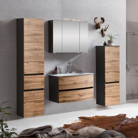 Ensemble salle de bains Kornel 9 à 4 pièces avec vasque blanche - gris graphite/chêne