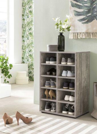 Schoenenkast / Rek Levi met 10 vakken - beton