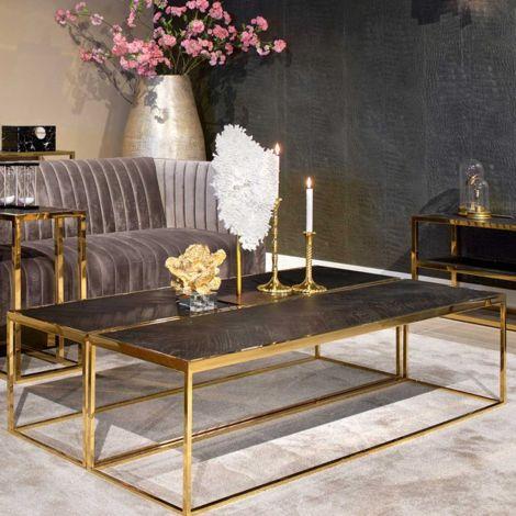 Salontafel Bony 160x40cm - zwart/goud