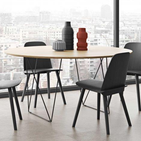 Table à manger Row Ø150 - chêne/noir