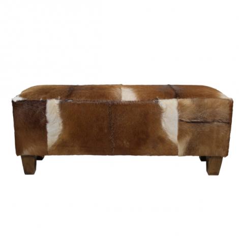Banc décoratif Bangku - peau de chèvre/teck