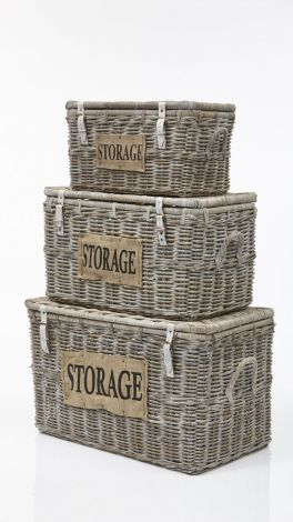 Opbergmand Storage - white wash - koboo - set van 3
