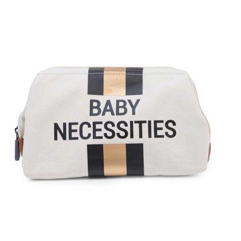 Toilettas Baby Necessities met strepen - ecru/zwart