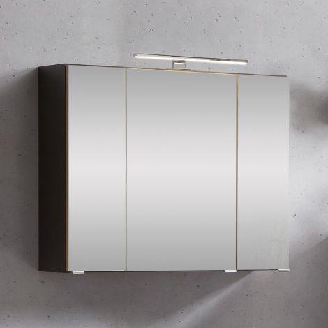 Armoire de toilette Kornel/Luna 80cm 3 portes & éclairage LED - gris graphite