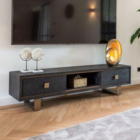 Tv-meubel Gunther 190cm 2 lades - zwart/goud