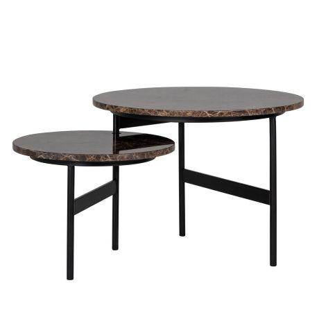 Ensemble de 2 tables basses rotatives Dalex - marbre brun
