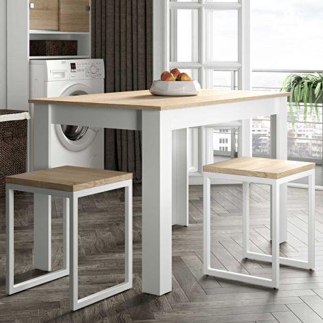 Eettafel Nice 110 cm - wit/eik