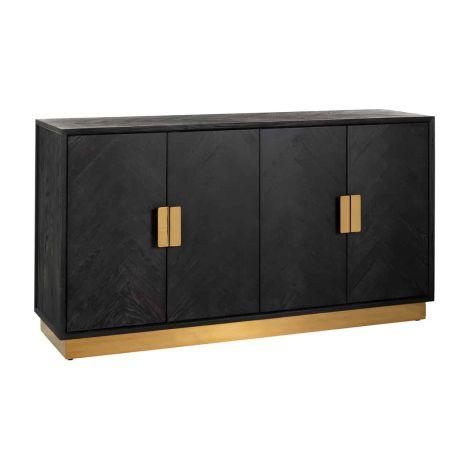Dressoir Bony 160cm 4 deuren - zwart/goud