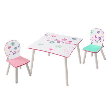 Table et chaises d'enfant Fleurs et Oiseaux