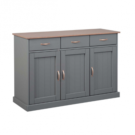 Dressoir Cerci 131cm met 3 deuren & 3 lades - grijs