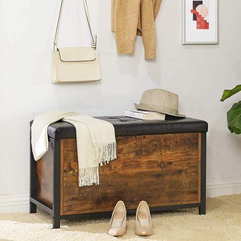 Koffer Nelis met gestoffeerde zitting - rustiek bruin/zwart