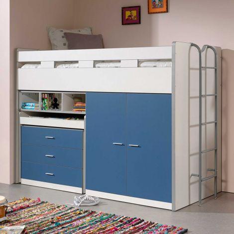 Halfhoogslaper Bonny 70 met bureau, commode en kast - blauw