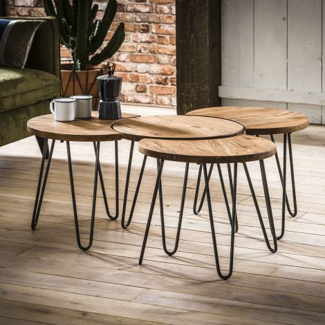 Salontafel set - 4 Ø50 - Massief acacia naturel