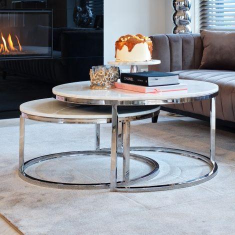 Set van 2 salontafels Levanto - zilver/wit
