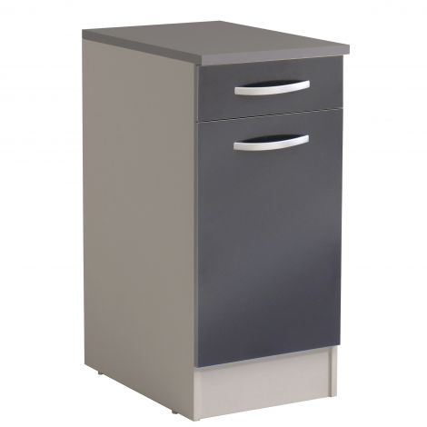 Meuble bas Spott 40x60 cm avec tiroir et porte - glossy grey