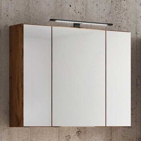 Spiegelkast Dusan 80cm met 3 deuren - wotan eik