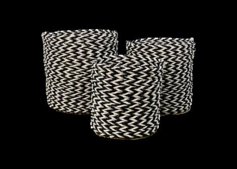 Mandenset - raffia / zeegras - zwart / wit - set van 3
