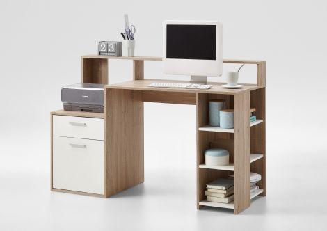 Bureau Elton 139cm - eik/wit