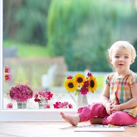 Raamstickers Gieter & bloemen