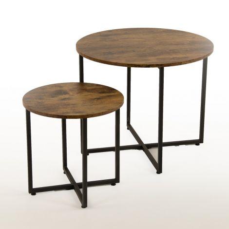Set van 2 salontafels Virgo - bruin/zwart