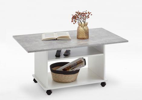 Salontafel Arthur - hoogglans wit/beton