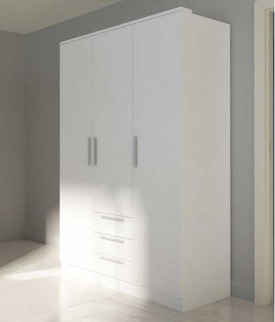 Kledingkast Ramos 120cm met 3 deuren & 3 laden - wit