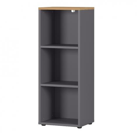 Bibliothèque basse Osmond 45cm - graphite/chêne