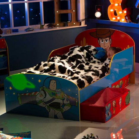 Peuterbed met lades Toy Story - blauw/rood
