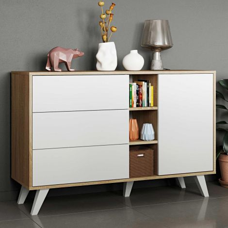 Dressoir Kim - eik/wit