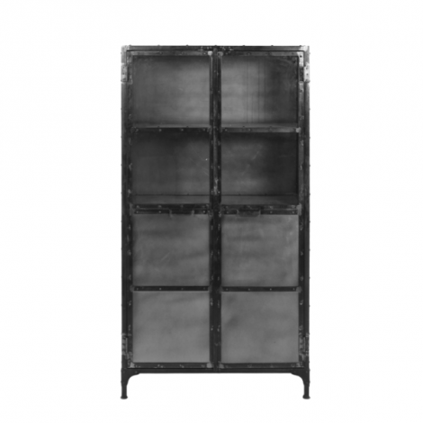 Vitrine Brooklyn 180cm - acier naturel/verre