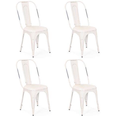 Lot de 4 chaises Aix - blanc