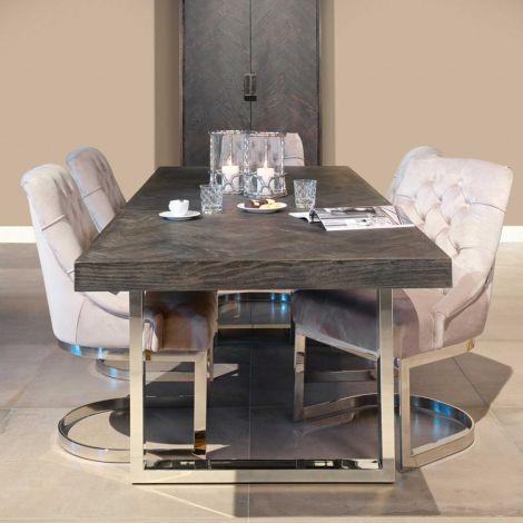 Uitschuifbare eettafel Bony 195/265x90cm - zwart/zilver