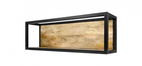 Wandbox Levels - 75x25 cm - mangohout / ijzer