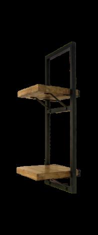 Wandplank Levels - 25x70 cm - mangohout / ijzer