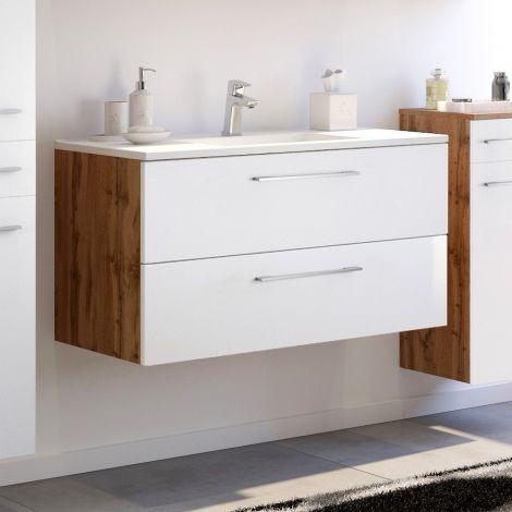 Meuble lavabo Sefa 100cm 2 tiroirs - chêne/blanc