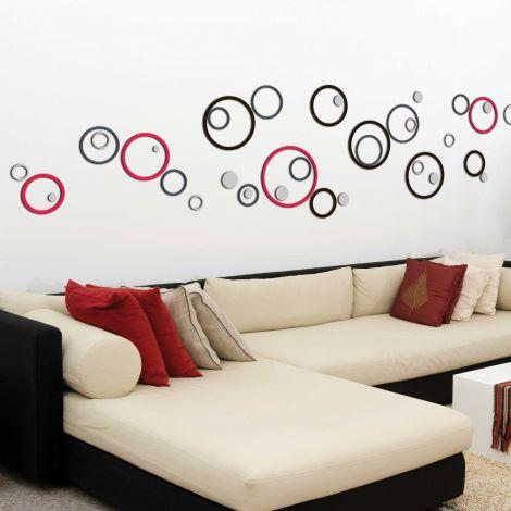 Muurstickers 3D Circles - schuimstickers