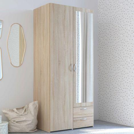 Opbergkast Salvador spiegel, 2 deuren & 2 laden - sonoma eik