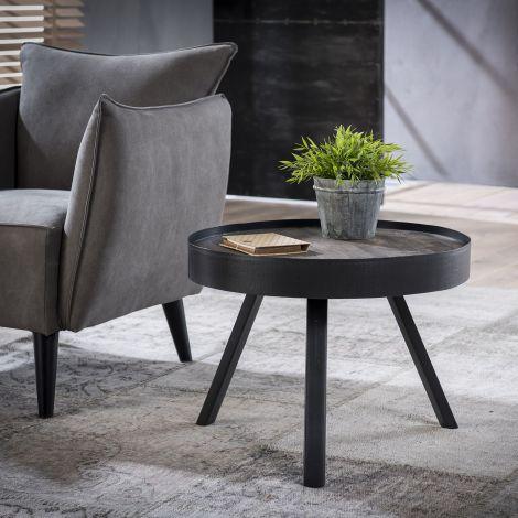 Table de salon Teca Ø60 bord - Teck en lavage gris
