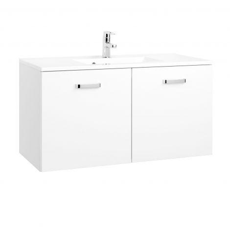 Meuble vasque Bobbi 100cm 2 portes - blanc