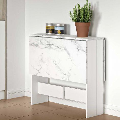 Table à manger pliable Papillon - blanc/marbre