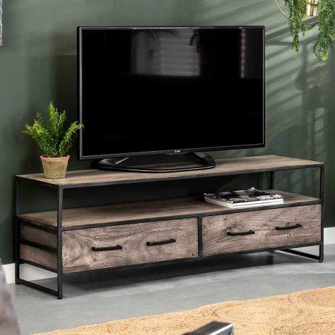 Meuble TV Turf 135 cm 2 tiroirs - acacia gris antique