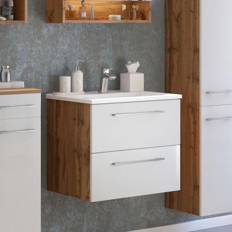 Meuble lavabo Sefa 60cm 2 tiroirs - chêne/blanc